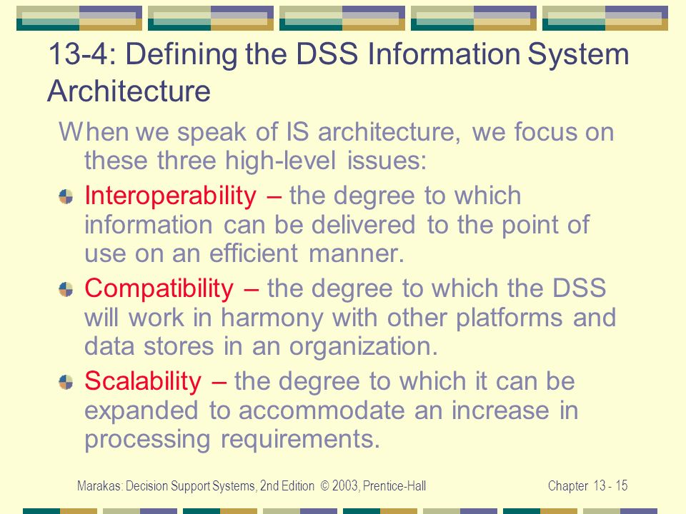 13-4: Defining the DSS Information System Architecture