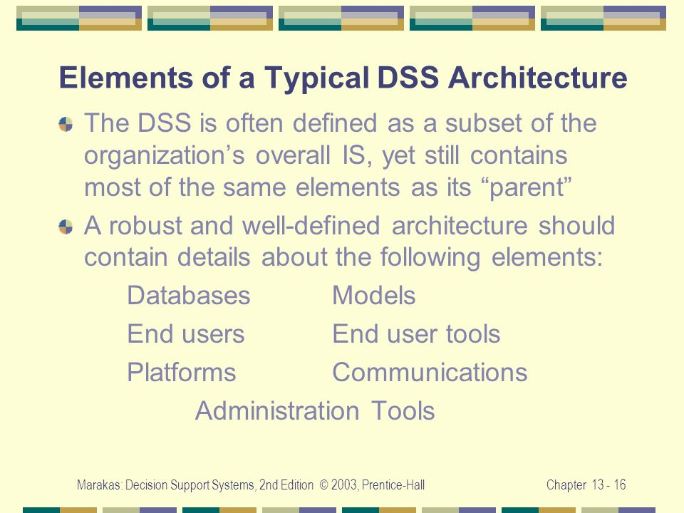 Elements of a Typical DSS Architecture