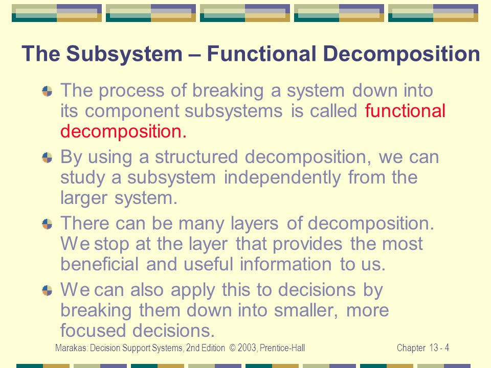 The Subsystem – Functional Decomposition