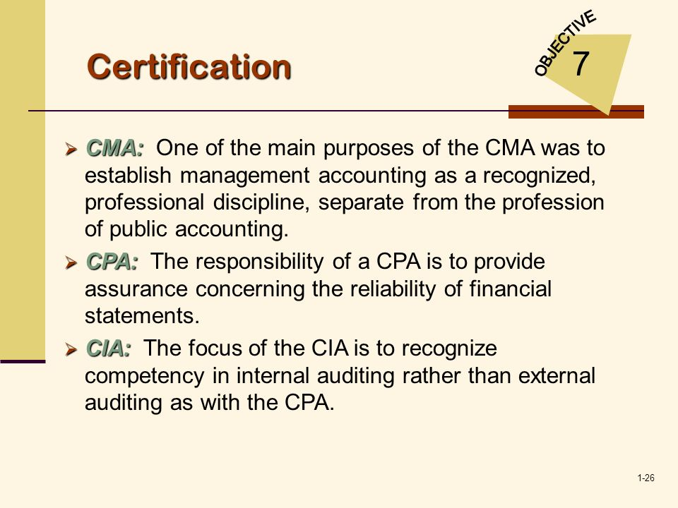 Certification OBJECTIVE. 7.