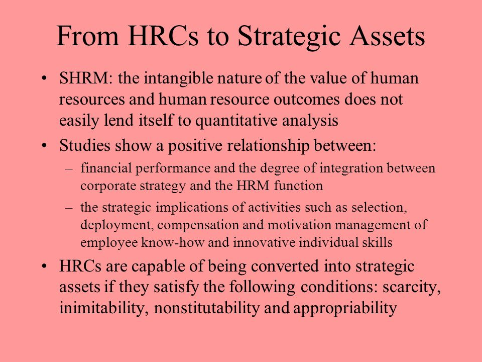 From HRCs to Strategic Assets