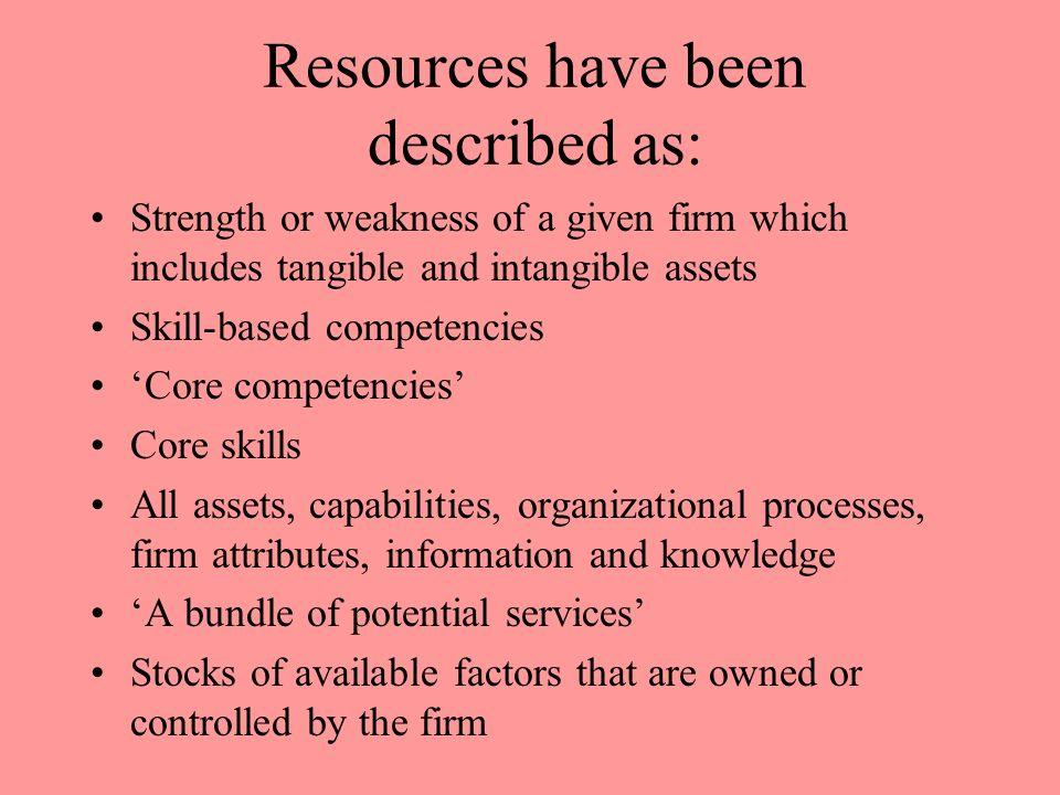 Resources have been described as: