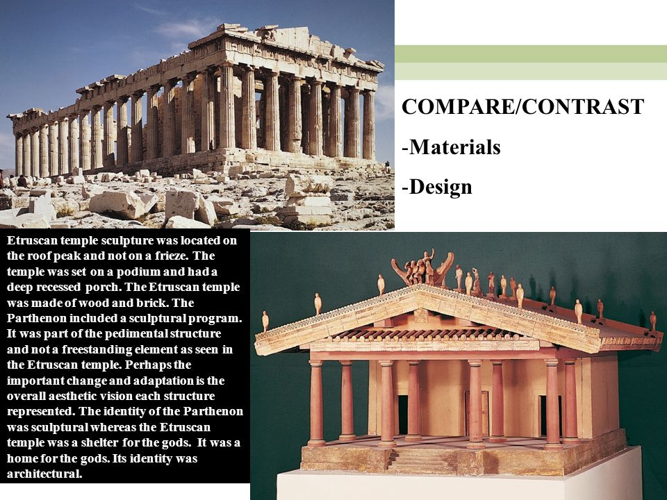 discuss the architectural similarities and differences between greek etruscan and roman temples Ancient roman architecture began with etruscan styles, and then accepted still further greek influence roman temples show etruscan civilization between.