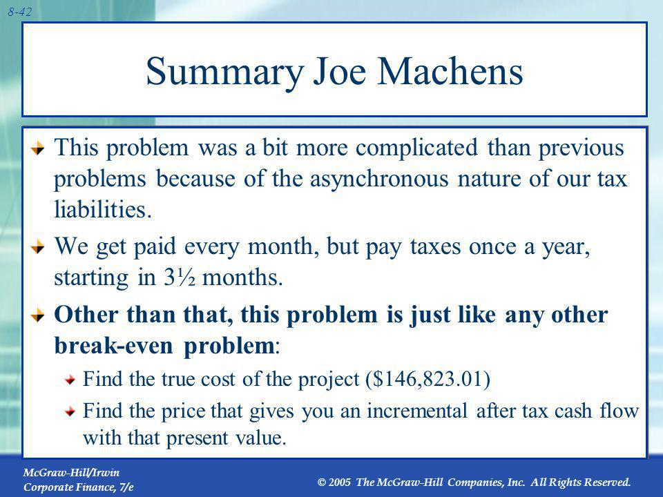 Summary Joe Machens This problem was a bit more complicated than previous problems because of the asynchronous nature of our tax liabilities.