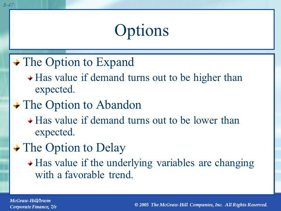 Options The Option to Expand The Option to Abandon The Option to Delay