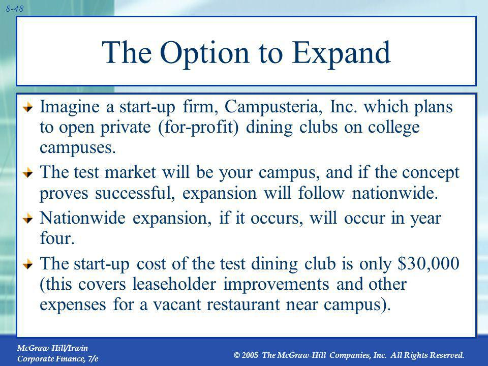 The Option to Expand Imagine a start-up firm, Campusteria, Inc. which plans to open private (for-profit) dining clubs on college campuses.