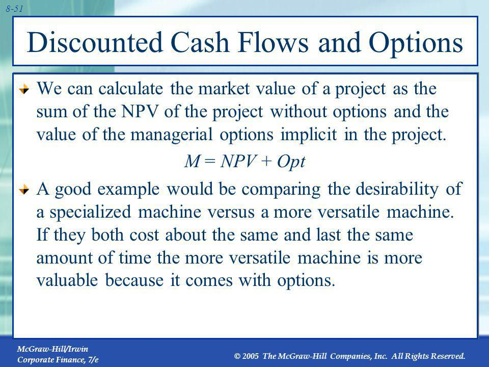 Discounted Cash Flows and Options