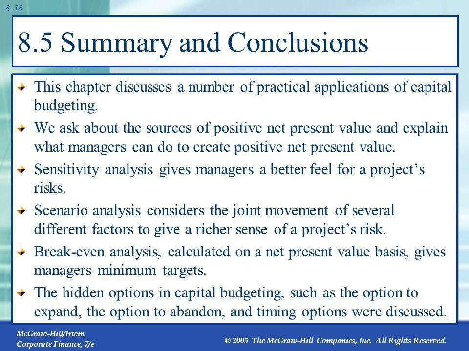 8.5 Summary and Conclusions