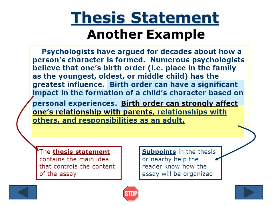 thesis statement is located Developing a thesis statement for most academic essays a thesis statement is expected or required as the key expression of the essay's purpose—the.