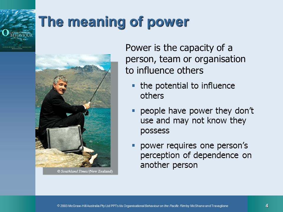 The meaning of power Power is the capacity of a person, team or organisation to influence others. the potential to influence others.