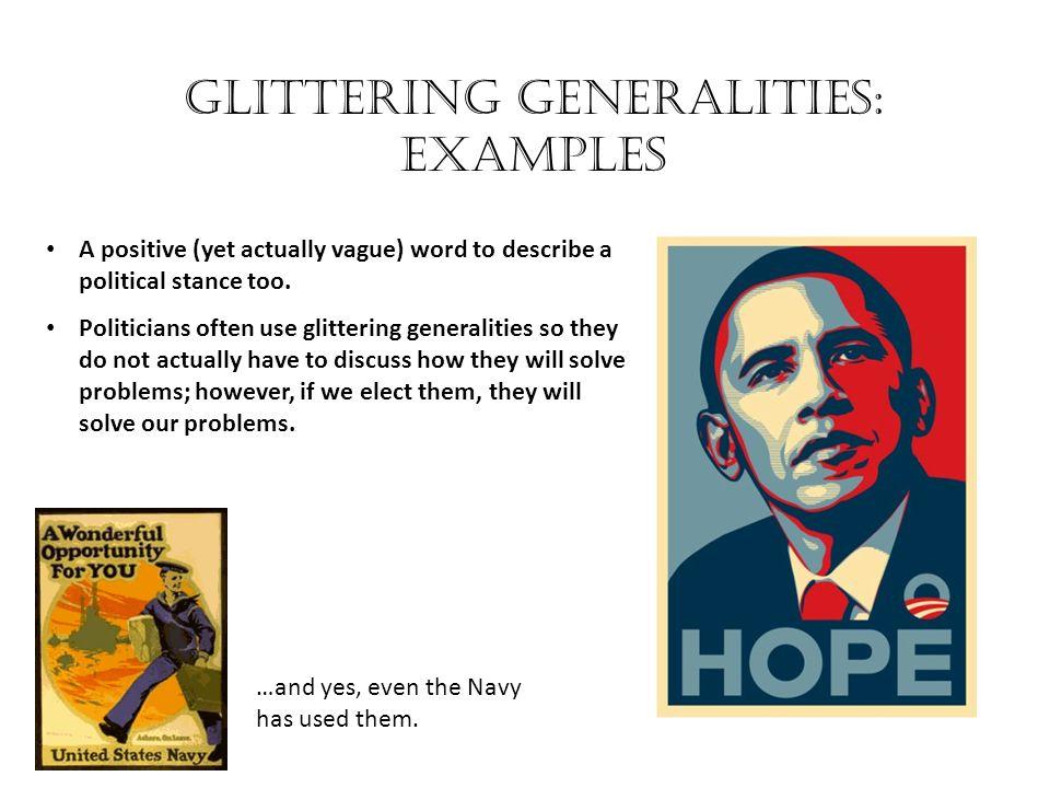 Glittering generalities: Examples