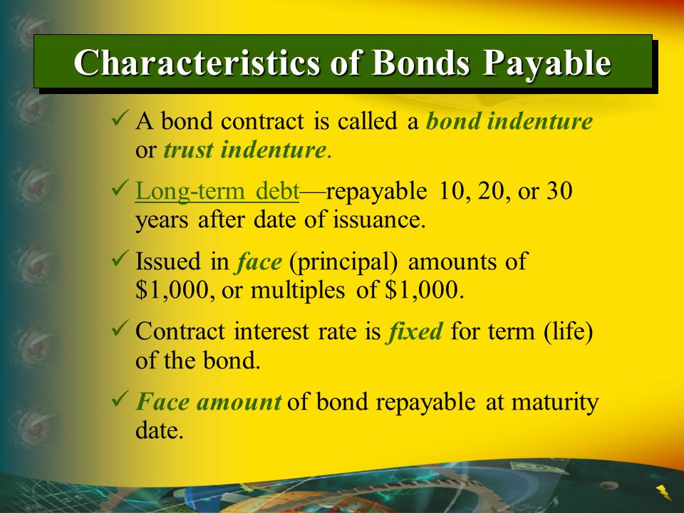 Characteristics of Bonds Payable