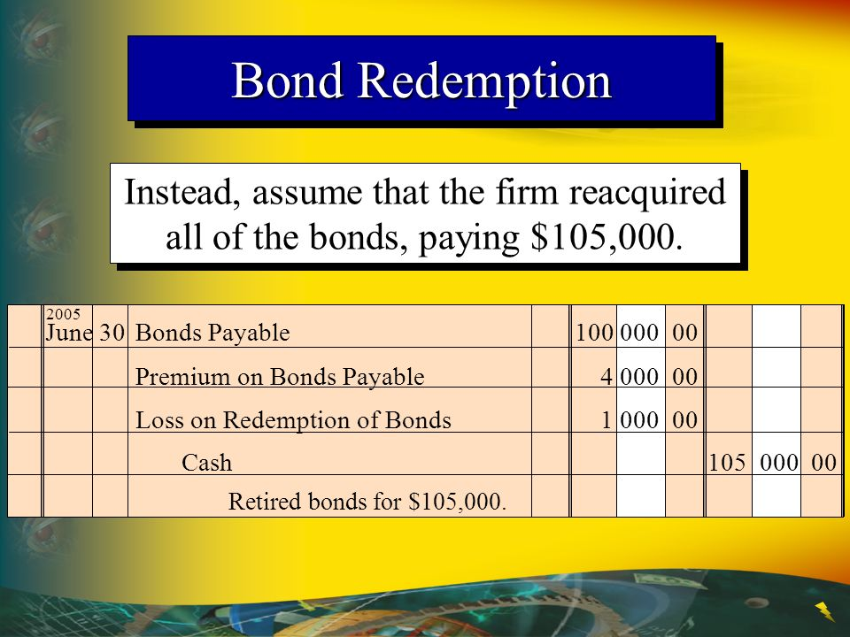 Bond Redemption Instead, assume that the firm reacquired all of the bonds, paying $105,000. 2005. June 30 Bonds Payable 100 000 00.