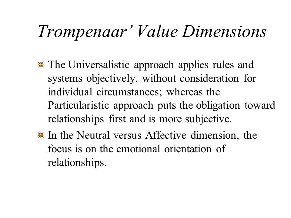 Trompenaar' Value Dimensions