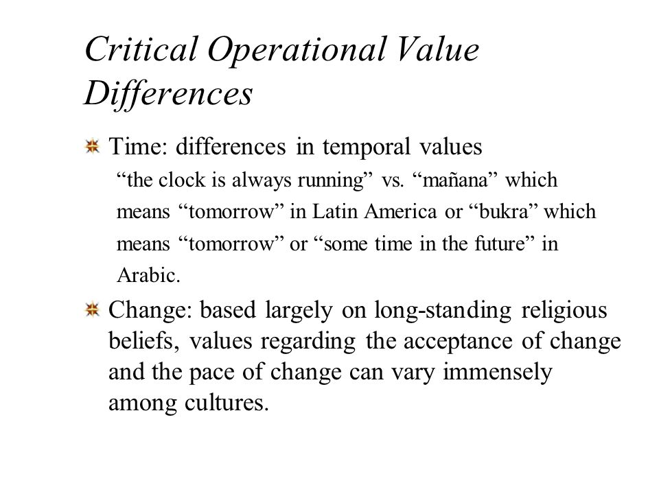 Critical Operational Value Differences
