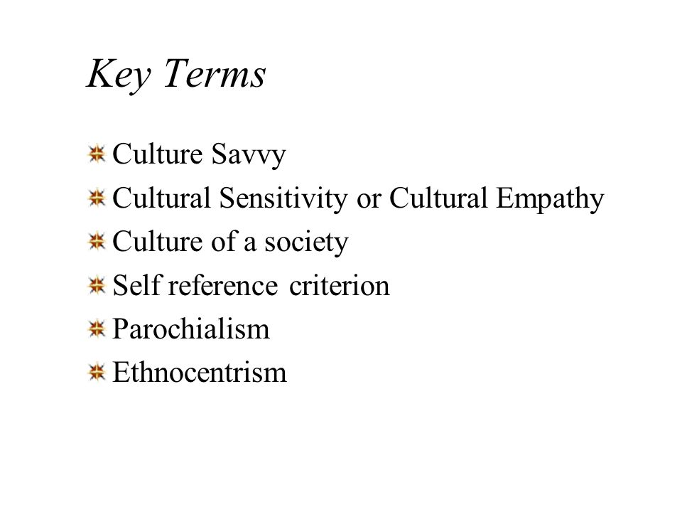 Key Terms Culture Savvy Cultural Sensitivity or Cultural Empathy