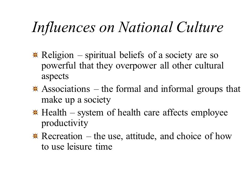 Influences on National Culture