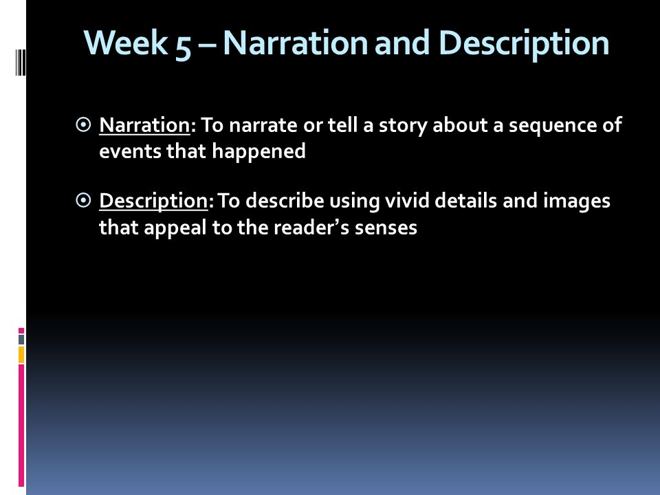 narrting and describing Putting physical traits into action [] if you first meet a character in chapter 3, describing her physical traits presents no problem, as you can just tell the reader as soon as she appears.