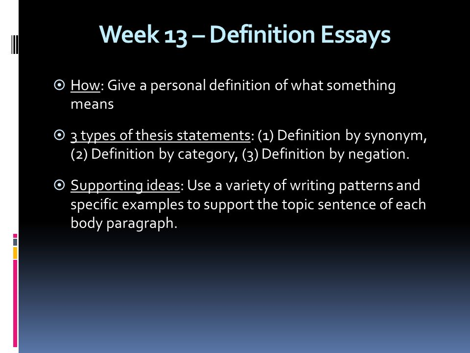 giving definition essay An essay has been defined in a variety of ways one definition is a prose composition with a focused subject of discussion or a long, systematic discourse it is difficult to define the genre into which essays fall.