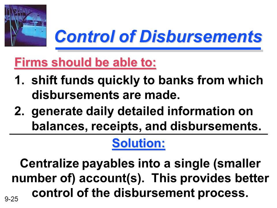 Control of Disbursements
