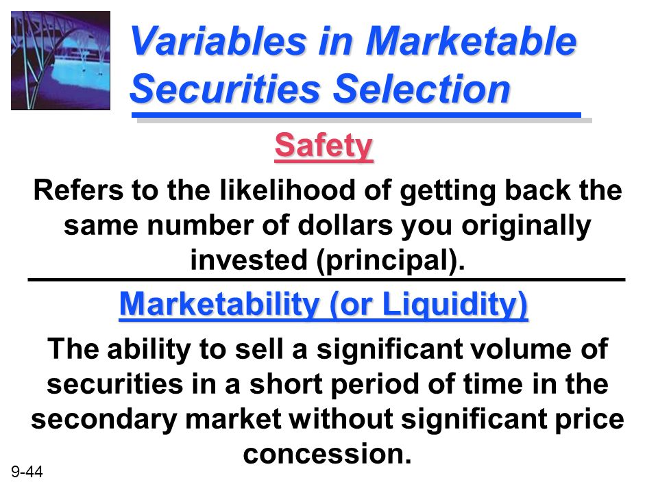 Variables in Marketable Securities Selection