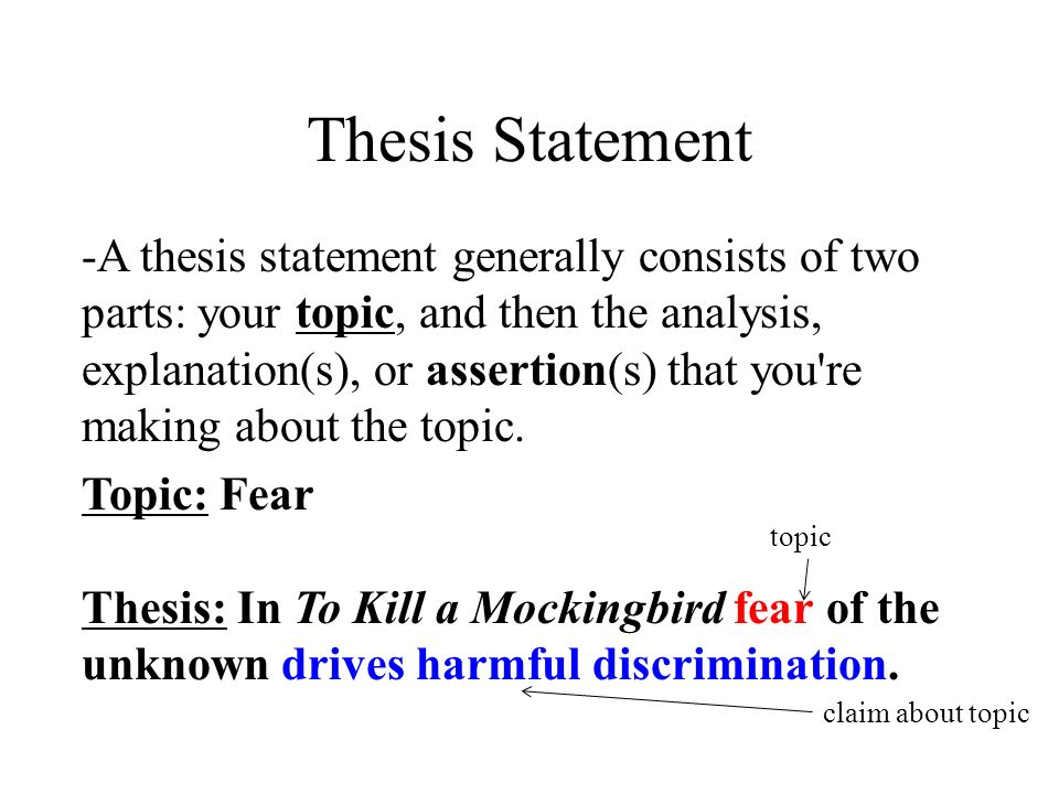 kill mockingbird statement thesis Your final thesis statement, which you can use in the introduction to an essay, might read: racism is the main theme explored in to kill a mockingbird most of the people in town are racists, tom .