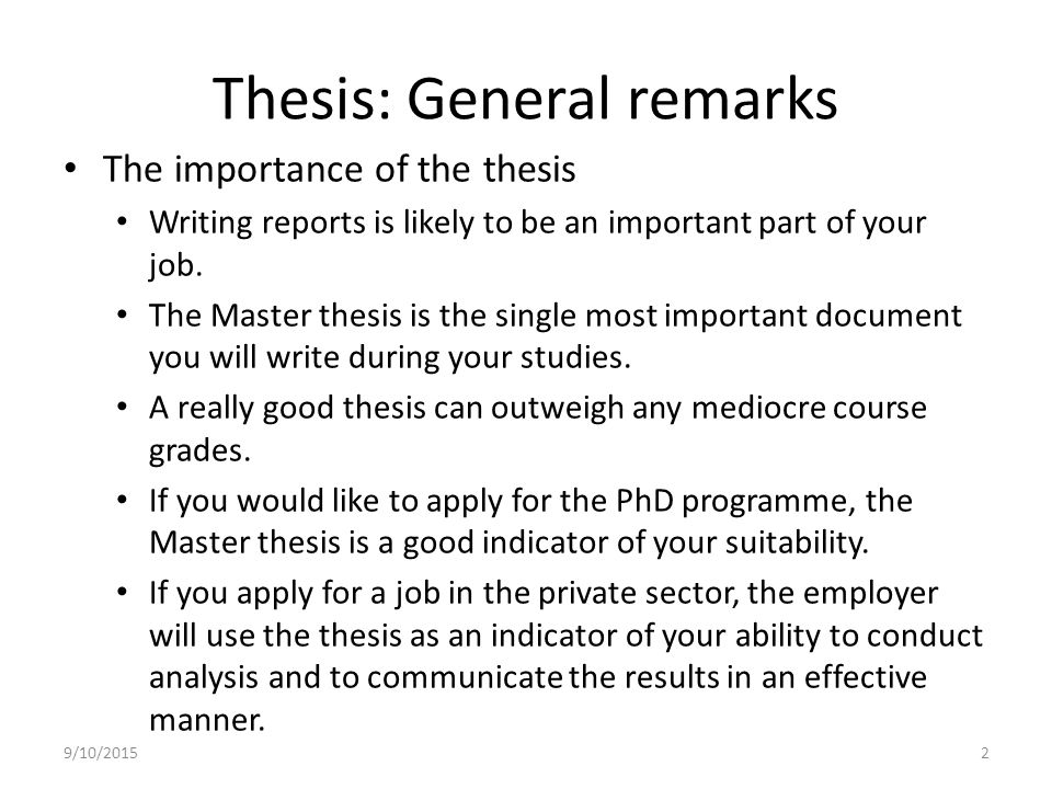 Writing master thesis