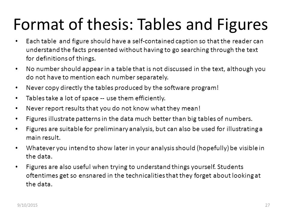 thesis figures and tables Writing your thesis with r markdown (3) – figures, r code and tables posted on march 18, 2016 by rosannav this is the third post in a short series of tutorials to write your thesis in r markdown.