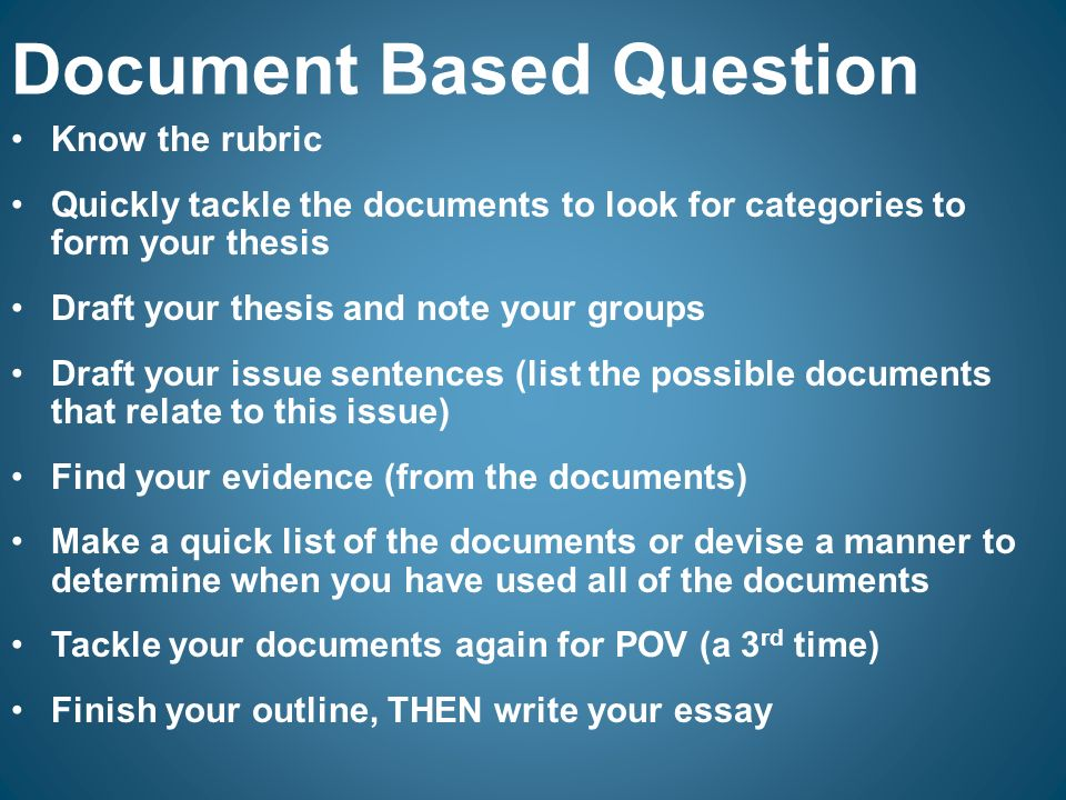 Document based question essay
