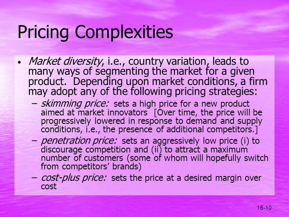 Pricing Complexities