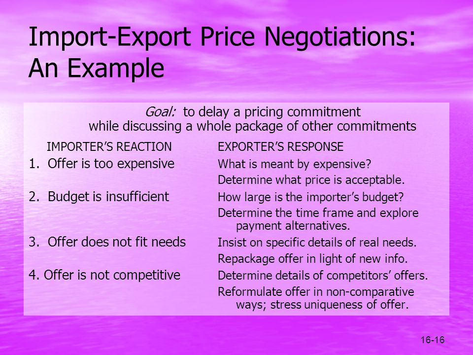 Import-Export Price Negotiations: An Example