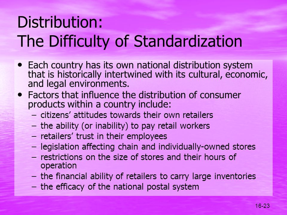 Distribution: The Difficulty of Standardization