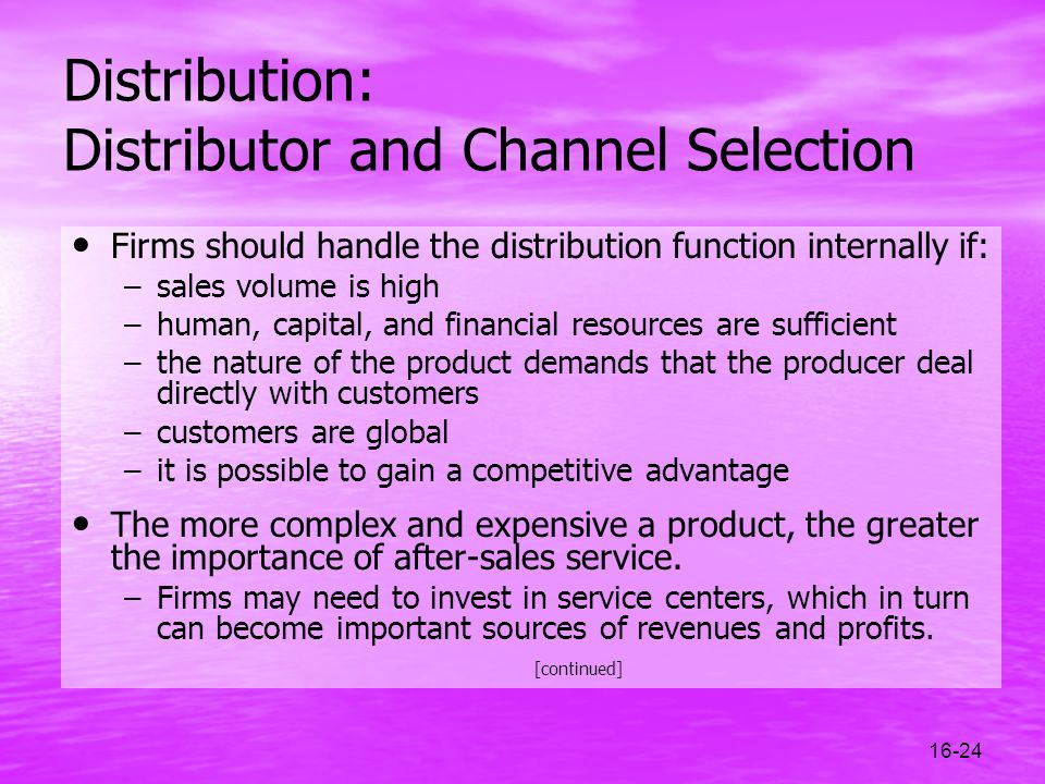 Distribution: Distributor and Channel Selection