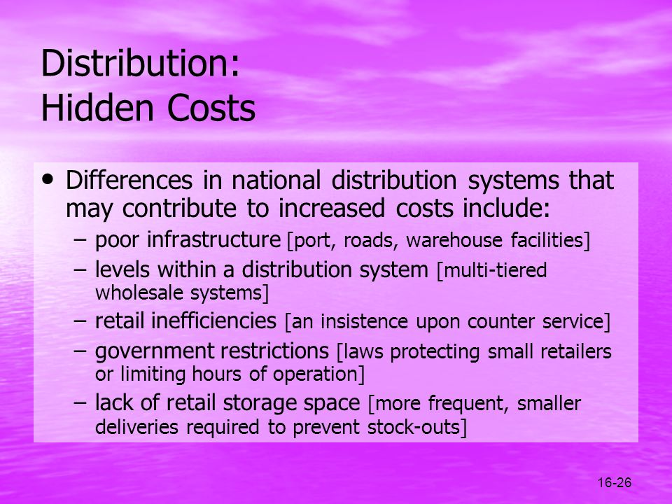 Distribution: Hidden Costs