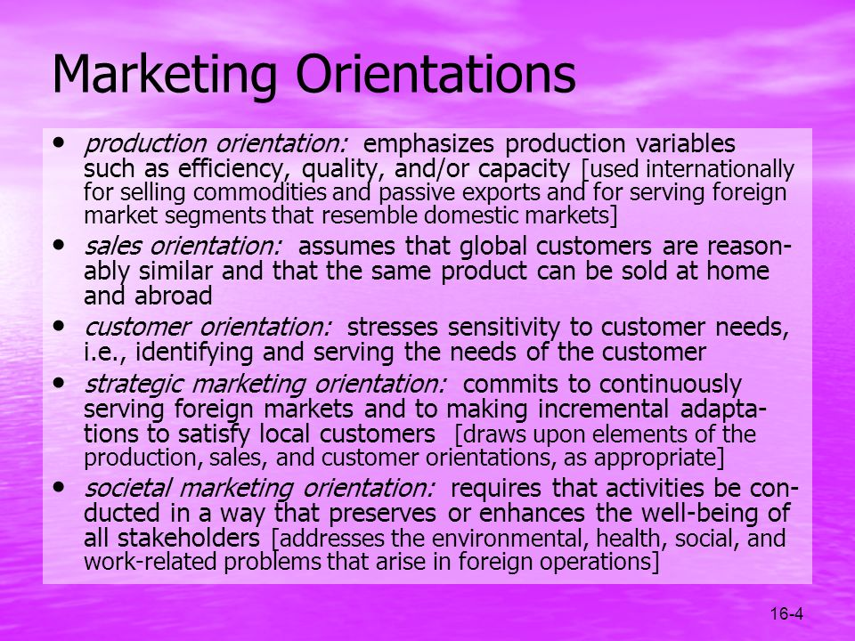 Marketing Orientations