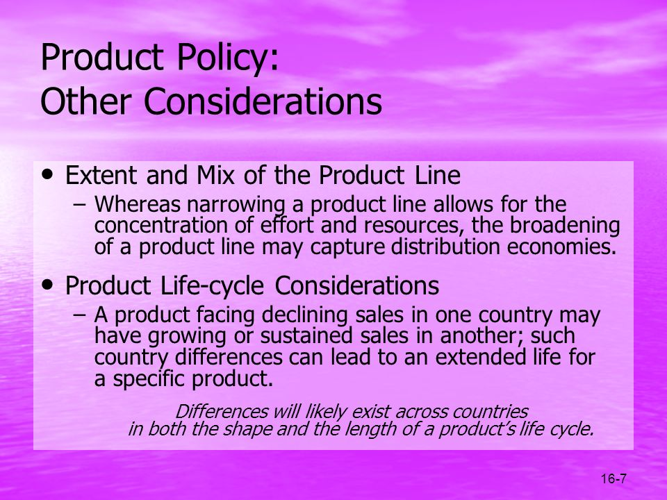 Product Policy: Other Considerations