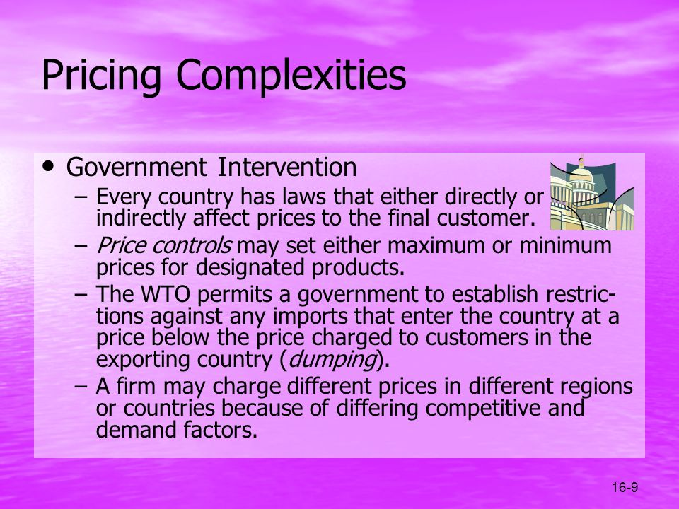 Pricing Complexities Government Intervention
