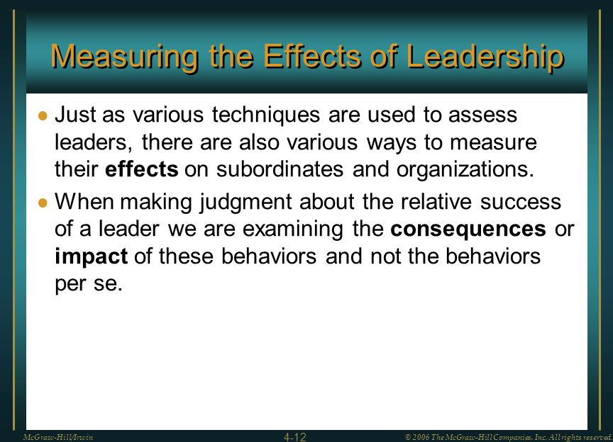 Measuring the Effects of Leadership