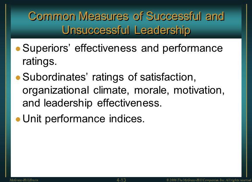 Common Measures of Successful and Unsuccessful Leadership
