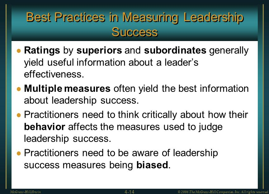 Best Practices in Measuring Leadership Success