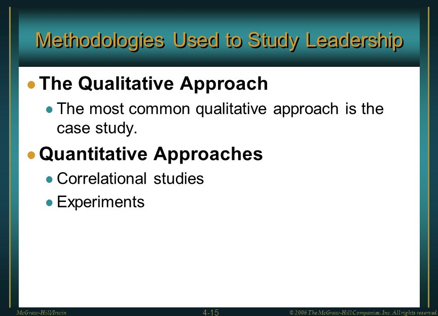 Methodologies Used to Study Leadership