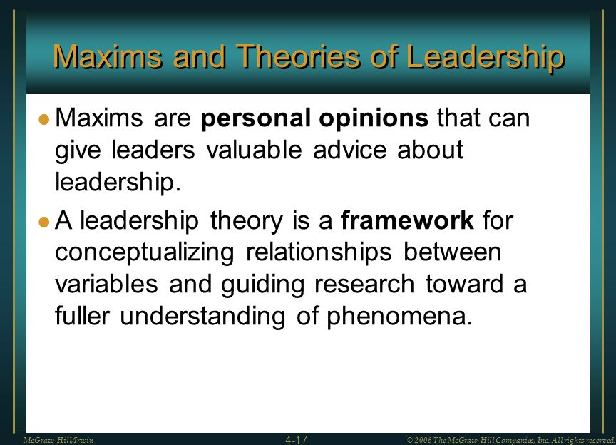 Maxims and Theories of Leadership
