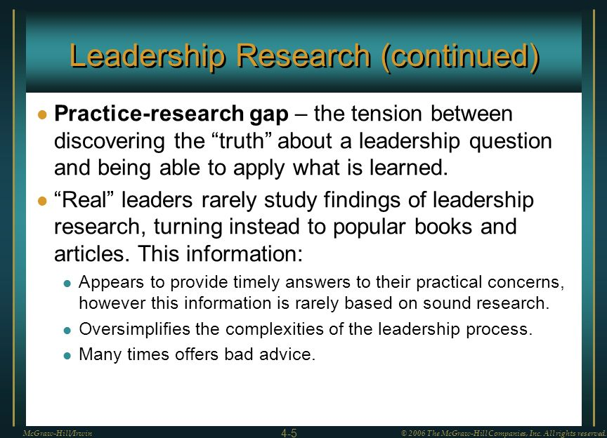 Leadership Research (continued)