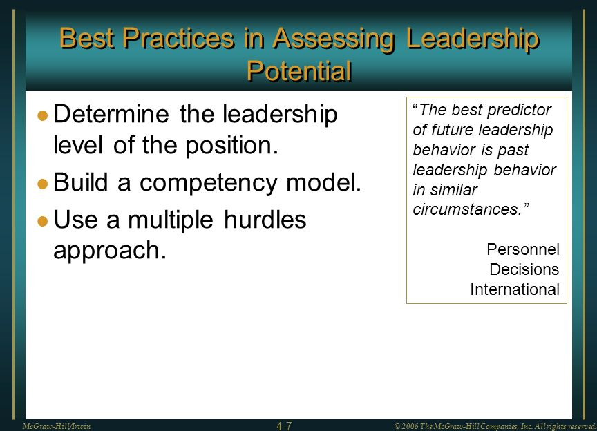Best Practices in Assessing Leadership Potential