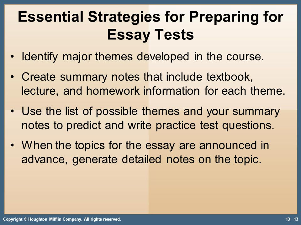 preparing essay tests Preparing for tests involves explaining their purpose, examining the genre and format of multiple-choice tests, teaching the formal language of tests and test-taking strategies, and providing opportunities for students to take practice tests and these lessons should be folded into the existing instructional program, not replace it.