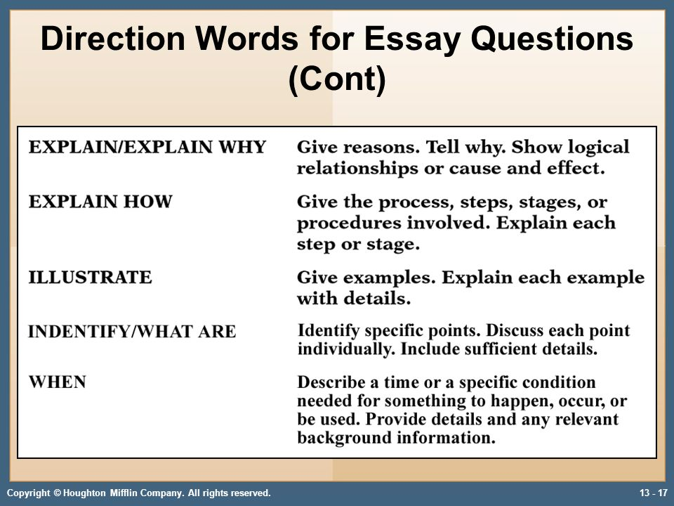 strategies of answering essay questions Great essay test taking strategies that  a key instruction might be that you only have to answer three out of five essay questions find out if answering the.