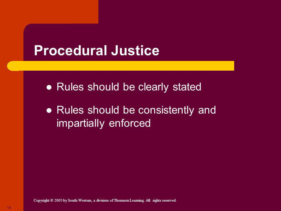 Procedural Justice Rules should be clearly stated