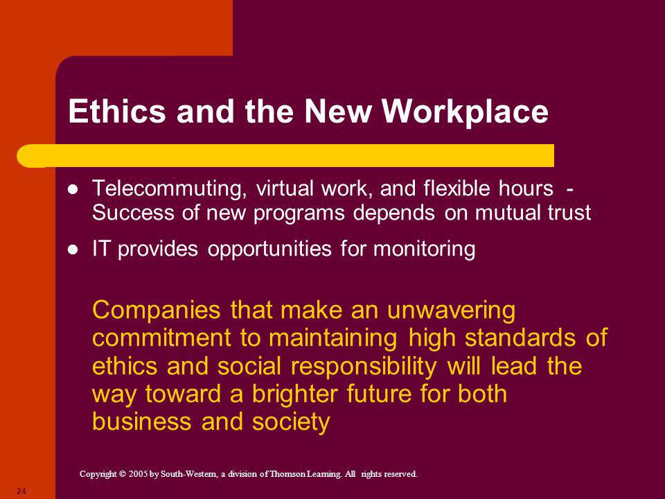 Ethics and the New Workplace