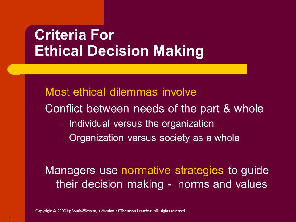 Criteria For Ethical Decision Making