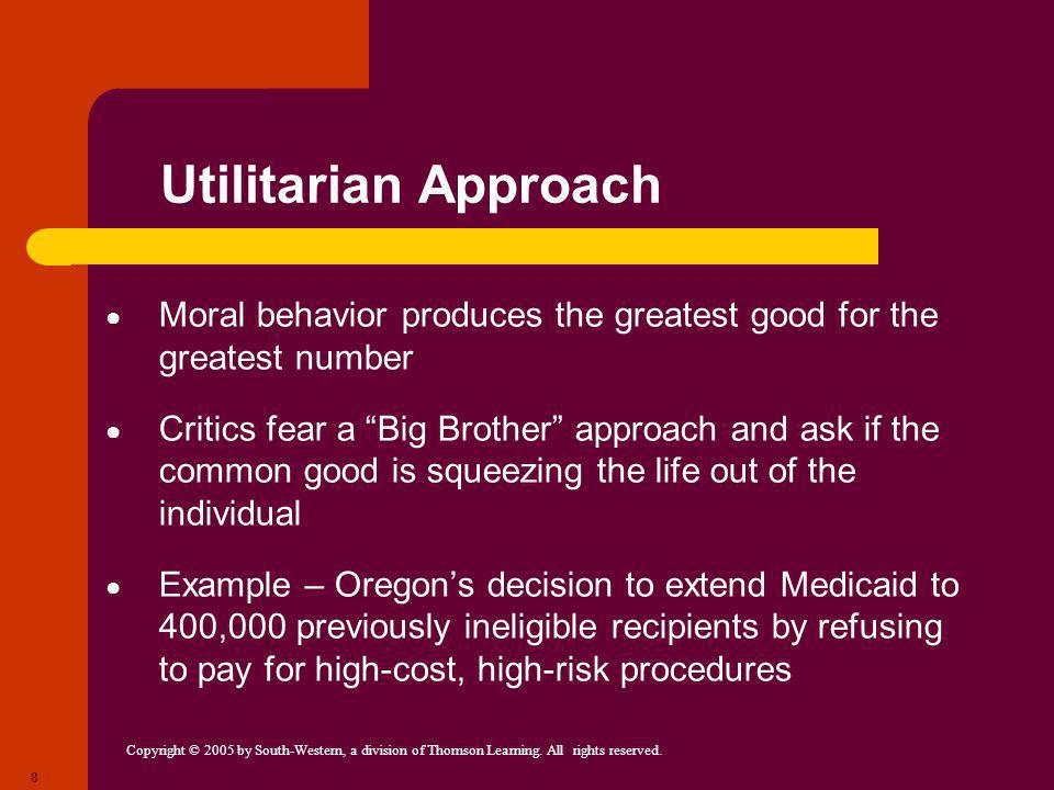 Utilitarian ApproachMoral behavior produces the greatest good for the greatest number.